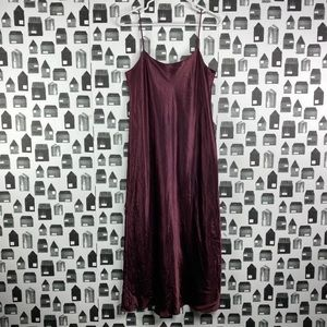 VINCE. Purple Metallic Satin Maxi Slip Style Dress